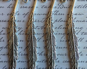 Four pewter feather pendents-lead free pewter