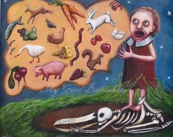 The Hungry Grass, Esurio, Original Painting, Cursed Ground, Irish Folk Tale, Fairy Tale, Death Curse, Dark Art, Macabre, Skeleton, Spooky