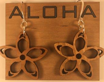 Custom Designed Artisan Made Aloha Hawaiian Flower Plumeria Star Floral Earrings - Perfect Mother's Day Gift