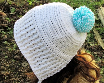 Women's Bonnet Hat, Crochet Earflap Hat, Bonnet, Pom Pom Hood, Non Pointy Women's Hood, White Hood, Trendy Hat