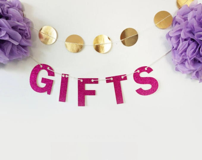 Gifts Glitter Banner - Bachelorette Party, Wedding Garland, Bridal Shower, Glitter Decoration, Holiday Banner, Cheers Banner