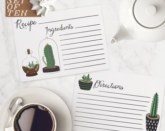 Recipe Card Set of 10   Cactus   4x6 recipe card, cooking, kitchen, recipes, bridal shower, birthday, mothers day, gifts for her, grandma