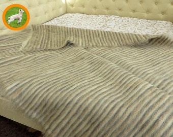 Bed Throw Blanket, Wool Throw, Striped Blanket, Wool Blanket, Woven Blanket, Shaggy Woven Rug, Bed Coverlet, Bedspread, Ukrainian Carpet