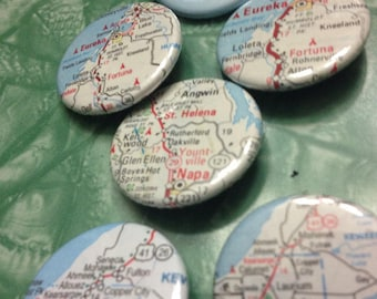 Custom pin back Button - US State Pick Your Town