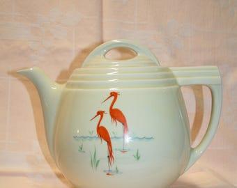 Enterprise Aluminum Drip O Lator flamingo teapot; Hall China; inserts included; large capacity