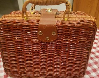 Vintage Wicker Lunch Bag Carrier Purse
