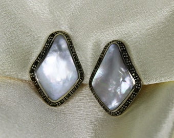 Vintage SK Thai Sterling Silver Clip On Earrings Mother of Pearl Marcasite