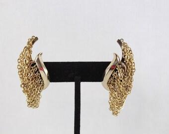 Monet Drop Chain Wrap Earrings Clip On
