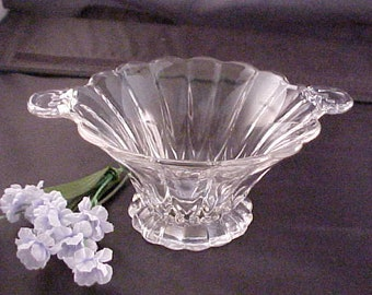 Vintage Crystal Janice Footed Mayo Bowl by New Martinsville, Elegant Glassware of Depression Era Mayonnaise, Clear Handled Serving Dish