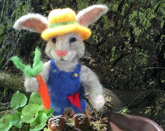 Felted Farmer  Rabbit