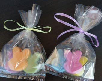 "Easter Bunny Buddies Soap (3), Organic Glycerin Base, 1 1/2"" x 1 1/2"" x 1/2"" party favor, gift set, hostess gift"