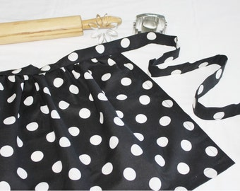 Black and White Dot Ruffled Adult Apron