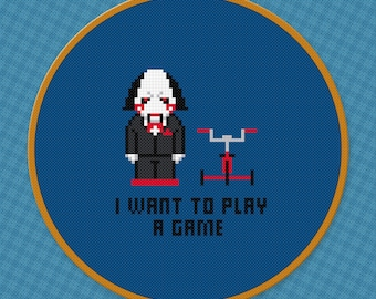 Saw Cross Stitch Pattern For Beginners   Horror Movies Counted Cross Stitch Chart   Jigsaw   Movies Quotes Xstitch Pattern   I Want To Play