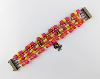 Passion Multi Strand Bracelet - Boho, hippie, gypsy, colorful, beaded, exclusive, brazilian - Mixed colors (Red/Yellow/Orange/Pink/White)