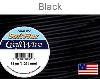18 Gauge Black Soft Flex Wire,  Round, Non-Tarnish,  Supplies, Findings