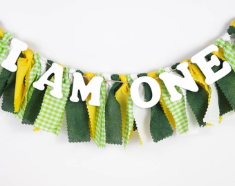 Green and Yellow Banner for Boy's Birthday Party - Garland - Bunting - First Birthday Party - Photoshoot Prop - Baylor University