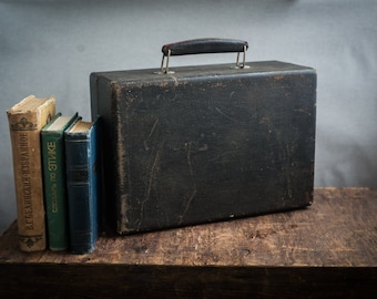 Vintage black wooden leather suitcase with velvet lining, small travel Luggage suitcase, Photo props, Storage Solution industrial decor,