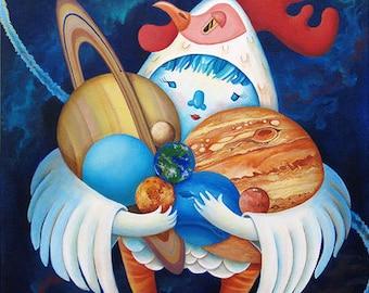 Chicken Daydream original acrylic painting