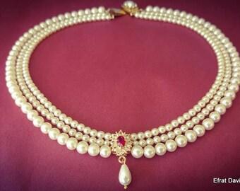 Bridal Necklace Red Ruby Stone Vintage Bridal Pearl Necklace July Brightstone Pearl Wedding Choker Rhinestone Zirconium Pearls Strand Choker