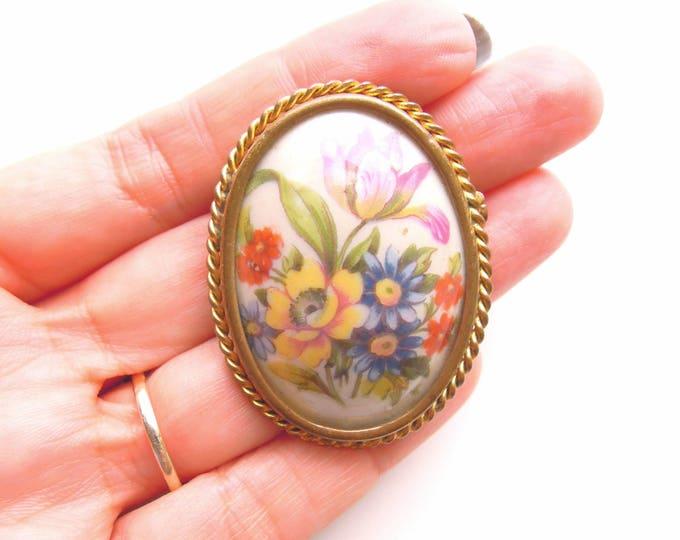 1940s Vintage Limoges Ceramic Brooch Vintage porcelain Limoges pin Antique French brooch Porcelain cameo porcelain brooch GIFT for MOM