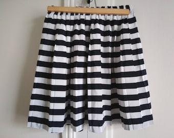 Vintage striped skirt sailor skirt retro Navy Blue skirt pleated skirt