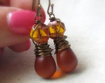 Cognac Earrings, Czech Glass, Brown Glass Earrings, Amber Topaz, Antiqued Brass, Wire Wrapped, Teardrop Earrings, Honey Brown, Everyday Wear