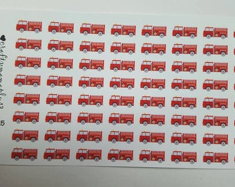 Firetruck Stickers! 64 Stickers! Great for Erin Condren, Filofax, Kikki.K, or Plum Paper Planners (225)