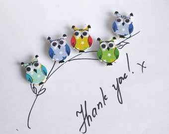 Set of 5 cute owl fridge,memo,decor magnets
