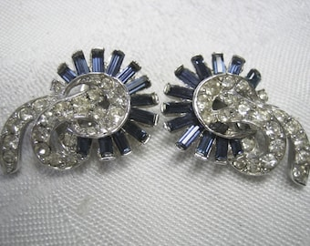 Vintage Ledo Sapphire & Clear Rhinestone Earrings