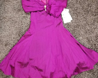 Vintage 90s Prom Dress Scott McClintock Burgundy Silk off Shoulder Sz 10 NWT