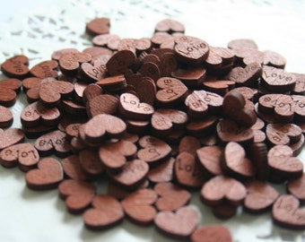 100 TINY Wooden Stained Hearts, Wedding Confetti, REDWOOD