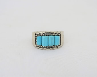 Vintage Southwestern Sterling Silver Turquoise Band Ring Size 8