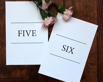 Printable Simple Text Classic Table Numbers