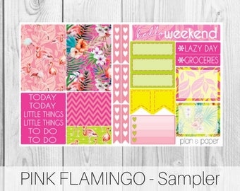Pink Flamingo Sampler || Planner Stickers || Happy Planner || Erin Condren