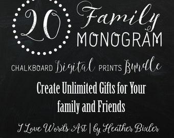 20 Chalkboard Monogram Family Digital Print Bundle | Christian Monogram Prints | Home Decor | Christian Scripture Print