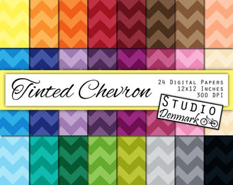 Tinted Chevron Digital Paper - 24 Colors - 12in x 12in 300 dpi jpg- Commercial Use - Instant Download Chevron Papers