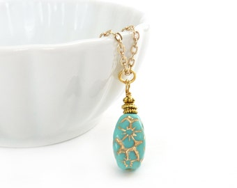 Turquoise Pendant Necklace - Gold Chain - Premium Czech Glass w Gold Inlay - Dainty Elegant Pendant - Blue Necklace - Gift for Her
