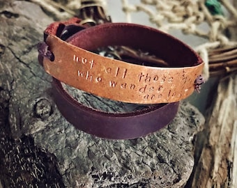 Not All Those Who Wander wrap bracelet // burgundy brown leather & handstamped copper quote rugged multi geek cuff//handmade peacock lime