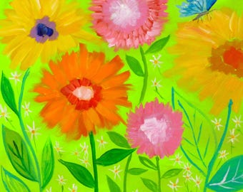 Hello Butterfly 24x24 Flower Painting Lime Green Background Whimsical Large