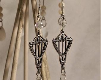 Elven earrings filigree silver