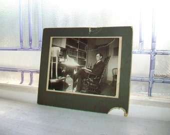 Antique Cabinet Card Photograph Man In His Study 1800s