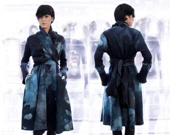 Wool Trench Coat, Blue Wool Coat, Felt wool coat, Long coar, Fitted Coat, Knitted Coat, Ana Livni