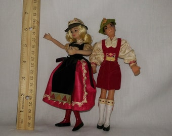 """7"""" Swiss couple by the Flagg Doll Company."""