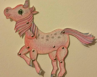 Articulated unicorn paper doll instant download to make yourself. DIY Little unicorn horse illustration.