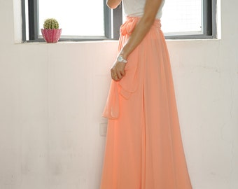 Beautiful Bow Tie Chiffon Maxi Skirt Silk Skirts Pink Elastic Waist Summer Skirt Floor Length Long Skirt(037)#40