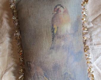 "Vtg Victorian Silkscreen Bird Designs Tassel Beaded Fringe Velvet Back Antique Look Decorative Throw Pillow. 15"" x 12"""