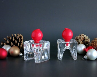 Juhava Oy Finland Candleholders Napkin Ring, Ri-Jalka Ice Cube Candle Holders with 4 Red Ball Candles, Crystal Scandinavian Christmas Decor
