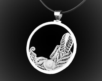Virgo pendant in silver embroidery