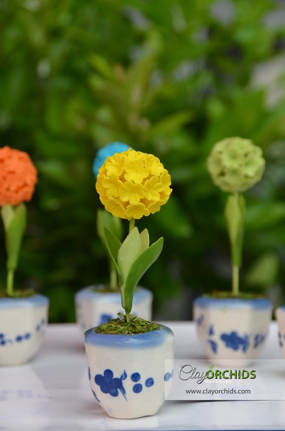 Yellow ball flower polymer flowers handmade by japanese like this item mightylinksfo Image collections