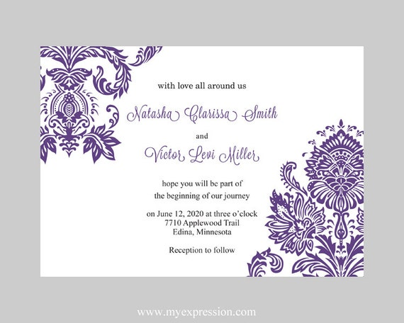 Purple invitation template selol ink purple invitation template stopboris Gallery
